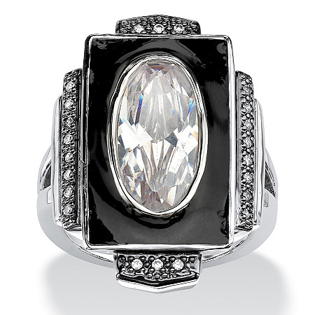 4.91 TCW Oval-Cut Cubic Zirconia Art-Deco Inspired Ring in Silvertone at PalmBeach Jewelry