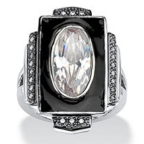4.91 TCW Oval-Cut Cubic Zirconia Art-Deco Inspired Ring in Silvertone