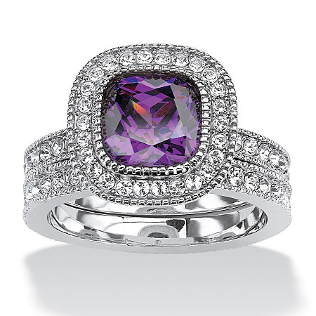 1.70 TCW Cushion-Cut Purple Cubic Zirconia Two-Piece Halo Bridal Set in Silvertone at PalmBeach Jewelry