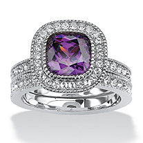 1.70 TCW Cushion-Cut Purple Cubic Zirconia Two-Piece Halo Bridal Set in Silvertone