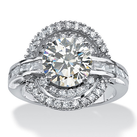 4.21 TCW Round Cubic Zirconia Vintage-Inspired Double Halo Ring in Platinum over Sterling Silver at PalmBeach Jewelry