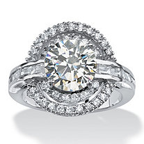 SETA JEWELRY 4.21 TCW Round Cubic Zirconia Vintage-Inspired Double Halo Ring in Platinum over Sterling Silver