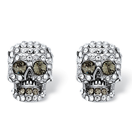 Pave Crystal Skull Stud Earrings MADE WITH SWAROVSKI ELEMENTS in Silvertone at PalmBeach Jewelry