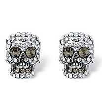 Pave Crystal Skull Stud Earrings MADE WITH SWAROVSKI ELEMENTS in Silvertone
