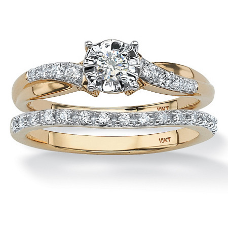 1/4 TCW Round Diamond 2-Piece Bridal Set in Solid 10K Gold at PalmBeach Jewelry
