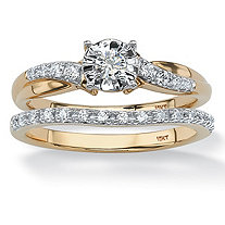 SETA JEWELRY 1/4 TCW Round Diamond 2-Piece Bridal Set in Solid 10K Gold