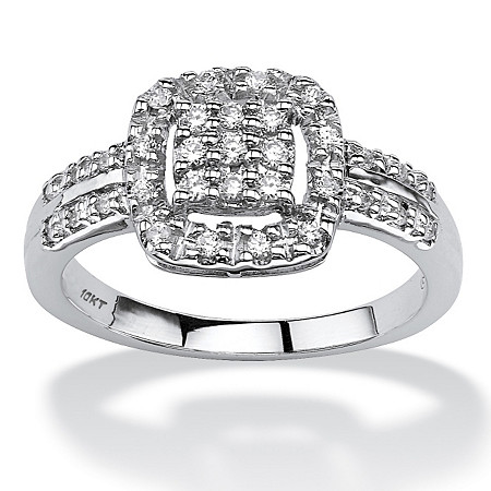 1/4 TCW Round Diamond Cluster Halo Ring in 10k White Gold at PalmBeach Jewelry