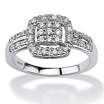1/4 TCW Round Diamond Cluster Halo Ring in 10k White Gold
