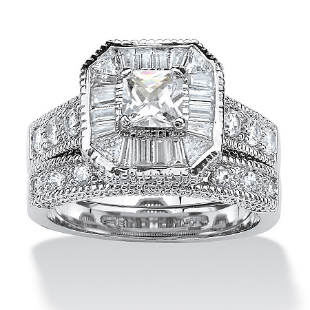 2 Piece 2.31 TCW Princess-Cut Cubic Zirconia Octagon Bridal Ring Set Platinum over Sterling Silver at PalmBeach Jewelry