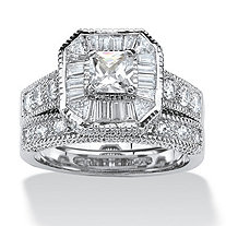 2 Piece 2.31 TCW Princess-Cut Cubic Zirconia Octagon Bridal Ring Set Platinum over Sterling Silver