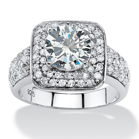 2.75 TCW Round Cubic Zirconia Double Halo Ring in Platinum over Sterling Silver at PalmBeach Jewelry