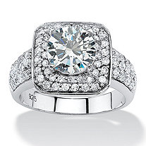 2.75 TCW Round Cubic Zirconia Double Halo Ring in Platinum over Sterling Silver