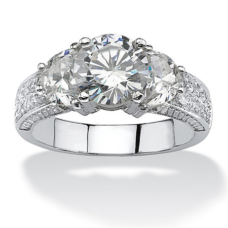 2.48 TCW Round Cubic Zirconia Ring in Platinum over Sterling Silver at PalmBeach Jewelry