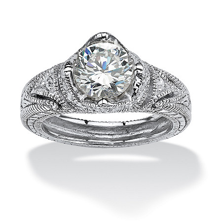 2.15 TCW Round Cubic Zirconia Crown Ring in Platinum over Sterling Silver at PalmBeach Jewelry
