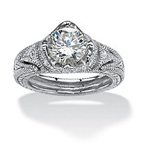 2.15 TCW Round Cubic Zirconia Crown Ring in Platinum over Sterling Silver