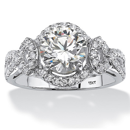 2.54 TCW Round Cubic Zirconia Halo Ring in 10k White Gold at PalmBeach Jewelry