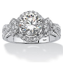 SETA JEWELRY 2.54 TCW Round Cubic Zirconia Halo Ring in 10k White Gold