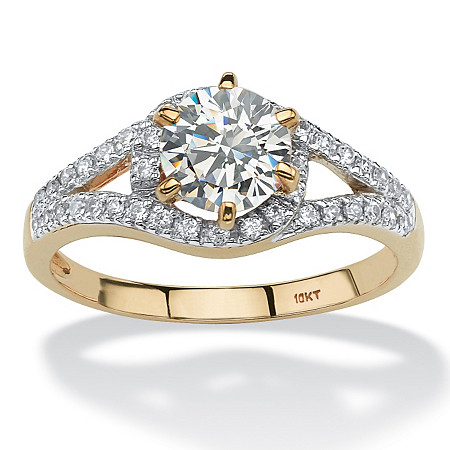 1.57 TCW Round Cubic Zirconia Split Shank Ring in 10k Gold at PalmBeach Jewelry