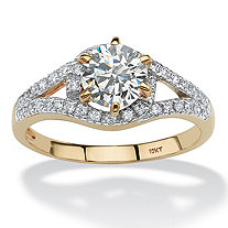 1.57 TCW Round Cubic Zirconia Split Shank Ring in 10k Gold