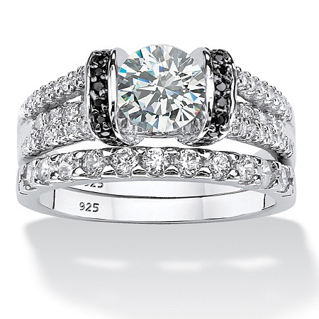 2.39 TCW Round Cubic Zirconia Two-Piece Bridal Set in  Platinum over .925 Sterling Silver at PalmBeach Jewelry