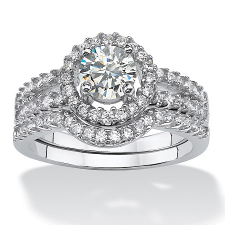 1.54 TCW Round Cubic Zirconia 2-Pc. Halo Bridal Ring Set in Platinum over Sterling Silver at PalmBeach Jewelry