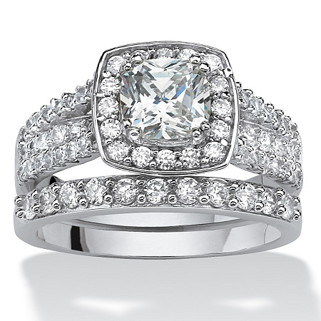 2.82 TCW Cushion-Cut Zirconia 2-Piece Halo Bridal Ring Set in Platinum over Sterling Silver at PalmBeach Jewelry