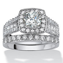 2.82 Round Cubic Zirconia Two-Piece Halo Bridal Ring Set in Platinum over Sterling Silver