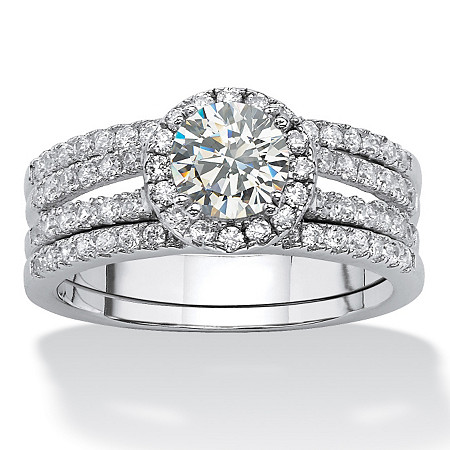 1.75 TCW Round Cubic Zirconia Halo Bridal Set in Platinum over Sterling Silver at PalmBeach Jewelry