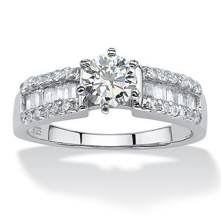 2.62 TCW Round Cubic Zirconia Ring in Platinum over Sterling Silver at PalmBeach Jewelry