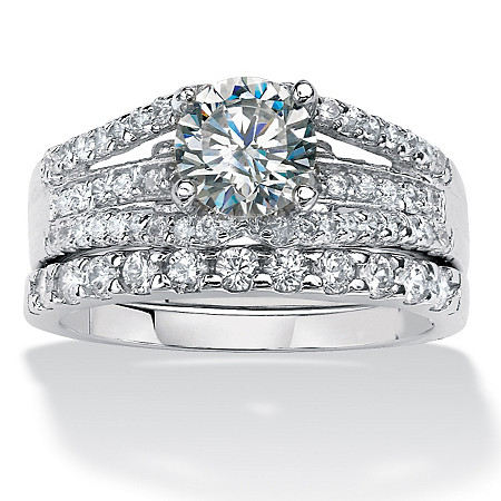 2 Piece 1.64 TCW Round Cubic Zirconia Bridal Ring Set in Platinum over Sterling Silver at PalmBeach Jewelry