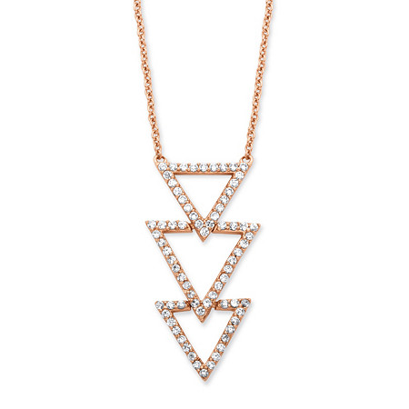.65 TCW Cubic Zirconia Triple Triangle Necklace in Rose Gold over Sterling Silver at PalmBeach Jewelry