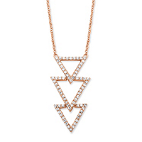 Cubic Zirconia Triple Triangle Necklace In Rose Gold Over Sterling Silver