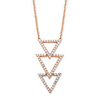 SETA JEWELRY .65 TCW Cubic Zirconia Triple Triangle Necklace in Rose Gold over Sterling Silver
