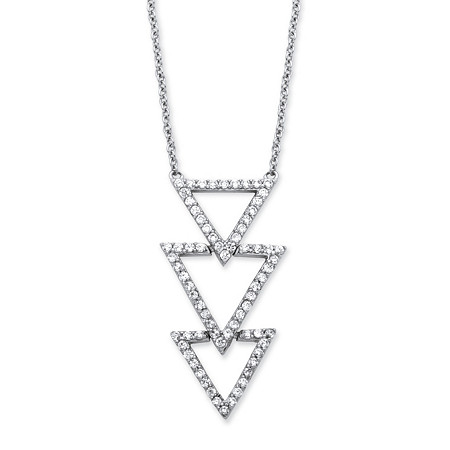 .65 TCW Cubic Zirconia Triple Triangle Necklace in Platinum over Sterling Silver at PalmBeach Jewelry