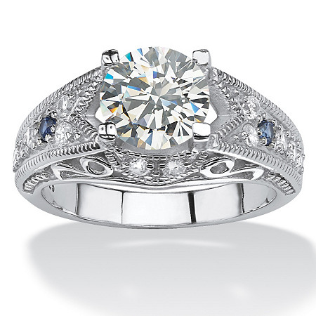2.45 TCW Round Cubic Zirconia Miligrain Ring in Platinum over Sterling Silver at PalmBeach Jewelry