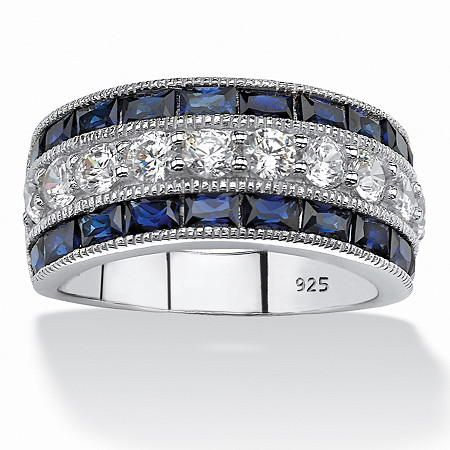 5.60 TCW Emerald-Cut Created Sapphire and Round Cubic Zirconia Ring in Platinum over Sterling Silver at PalmBeach Jewelry