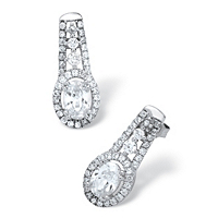 Oval-Cut Cubic Zirconia Drop Earrings In Platinum Over Sterling Silver ONLY $15.99