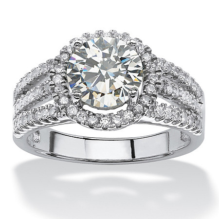 2.53 TCW Round Cubic Zirconia Halo Ring in Platinum over Sterling Silver at PalmBeach Jewelry