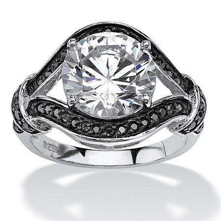 4.37 TCW Black & White Cubic Zirconia Wrap Ring in Sterling Silver at PalmBeach Jewelry