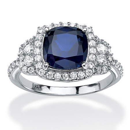 1.36 TCW Cushion-Cut Sapphire Halo Ring in Platinum over Sterling Silver at PalmBeach Jewelry