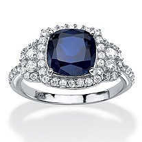 SETA JEWELRY 1.36 TCW Cushion-Cut Sapphire Halo Ring in Platinum over Sterling Silver