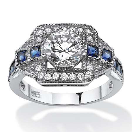 2.46 TCW Round Cubic Zirconia Art Deco-Inspired Halo Ring in Platinum over Sterling Silver at PalmBeach Jewelry
