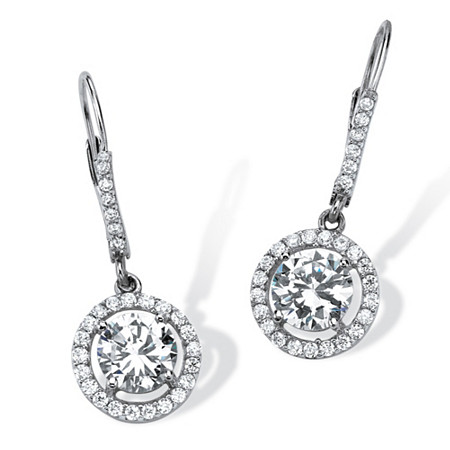 3.61 TCW Round Cubic Zirconia Floating Halo Drop Earrings in Platinum over Sterling Silver at PalmBeach Jewelry