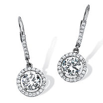 3.61 TCW Round Cubic Zirconia Floating Halo Drop Earrings in Platinum over Sterling Silver