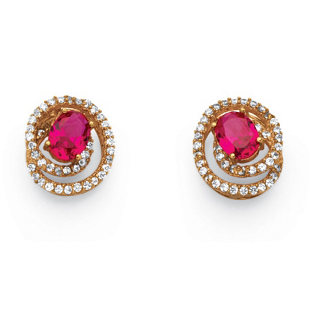 2.66 TCW Created Ruby Swirl Earrings in Rose Gold over Sterling Silver at PalmBeach Jewelry