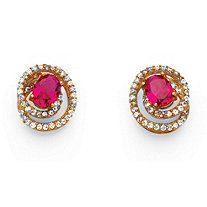 SETA JEWELRY 2.66 TCW Created Ruby Swirl Earrings in Rose Gold over Sterling Silver