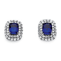SETA JEWELRY 4.14 TCW Emerald-Cut Created Blue Sapphire and Cubic Zirconia Double Halo Earrings in Platinum over Sterling Silver