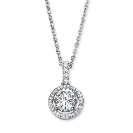 2.25 TCW Round Cubic Zirconia Floating Halo Pendant Necklace in Platinum over Sterling Silver at PalmBeach Jewelry