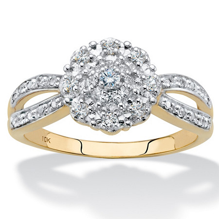 1/5 TCW Round Diamond Cluster Flower Split-Shank Engagement Ring in Solid 10k Yellow Gold at PalmBeach Jewelry