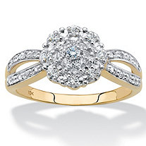 1/5 TCW Round Diamond Cluster Flower Split-Shank Engagement Ring in Solid 10k Yellow Gold